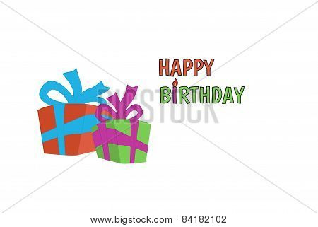 Happy birthday card with wrapped gifts