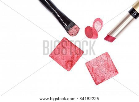 Bright Pink Lipstick With Makeup Brush