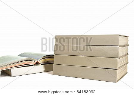 Stack Of Books With Blank Spines