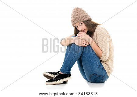 Scared Teenage Girl Curled-up
