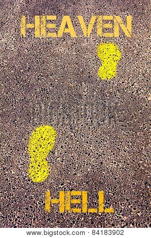 Yellow Footsteps On Sidewalk From Hell To Heaven Message. Concept Image