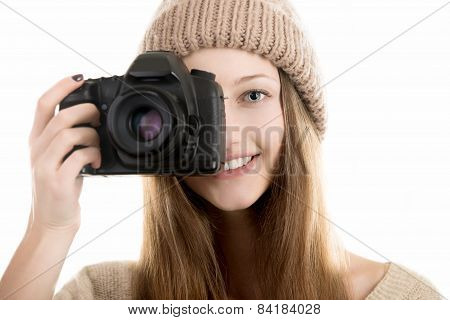 Smiling Teenage Girl Take A Photograph