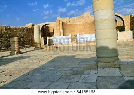 Altar Place Of  Byzantine Ancient Church In The City Avdat. Negev Desert. Israel