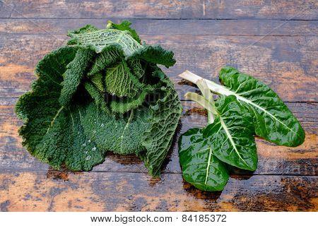 Fresh Savoy Cabbage And Chard
