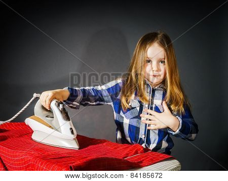 Cute Little Girl Helping Your Mother By Ironing Clothes, Contrast Image