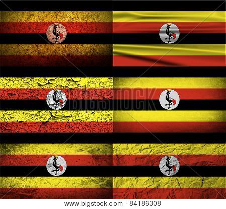 Flag Of Uganda With Old Texture. Vector