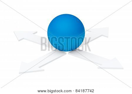 Unknown Direction. Gray Arrows And Blue Ball Isolated On White Background (3D Render)