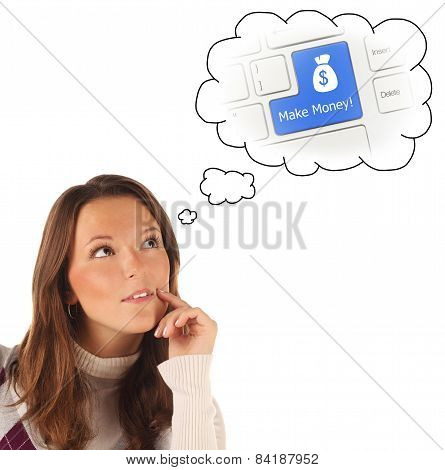 Close-up Portrait Of Girl Dreaming About Making Money (isolated)