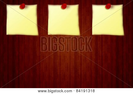 3 Yellow stickers on a wooden board background from notice