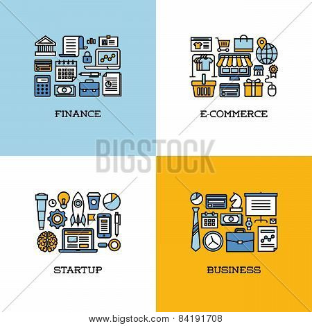 Flat Line Icons Set Of Finance, E-commerce, Startup, Business. Creative Design Elements