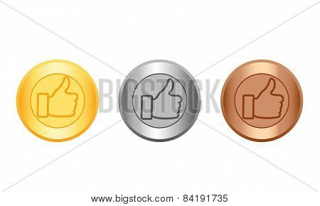Medal gold, silver and bronze with icon like