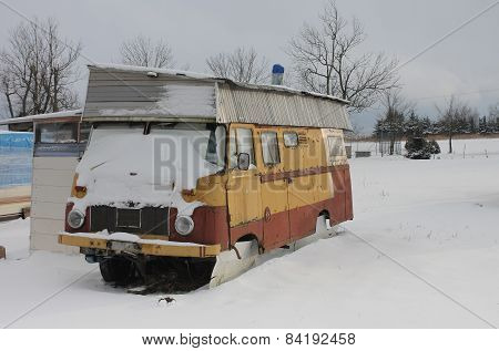 Caravan  Covered By  Snow In Winter