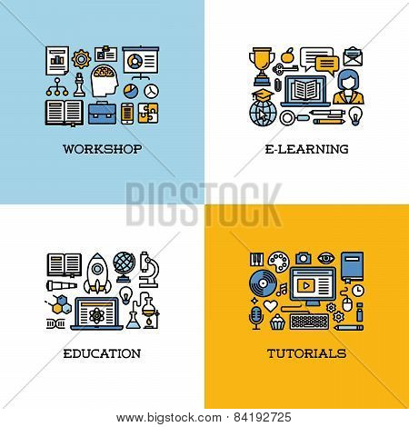 Flat Line Icons Set Of Workshop, E-learning, Education, Tutorials. Creative Design Elements