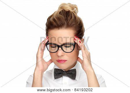 Headache migraine people. Concept - problems, fatigue, stress and headache.