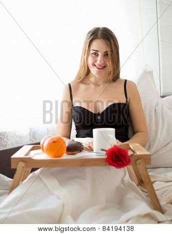 Woman In Lingerie Having Breakfast At Hotel Room