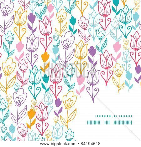 Vector colorful tulip flowers frame corner pattern background