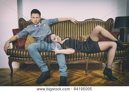 Glamour Man And Woman In Luxury Room