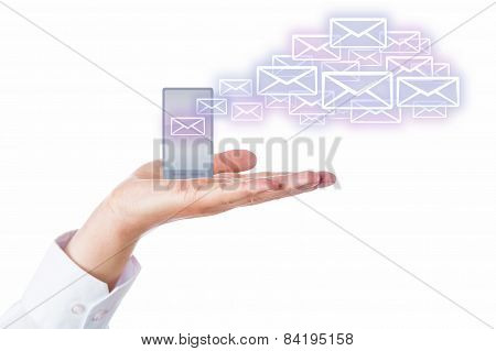 Emails Leaving Cell Phone In A Palm For The Cloud