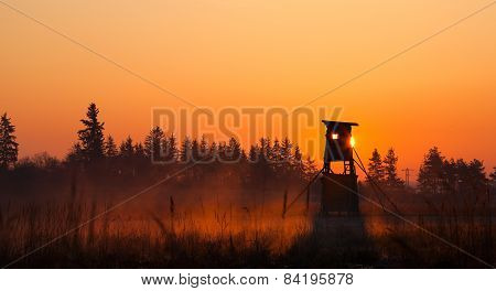 Hunter Lookout Tower On The Edge Of The Forest