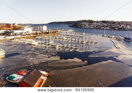 Empty Harbor And Marina On Fjord In Winter