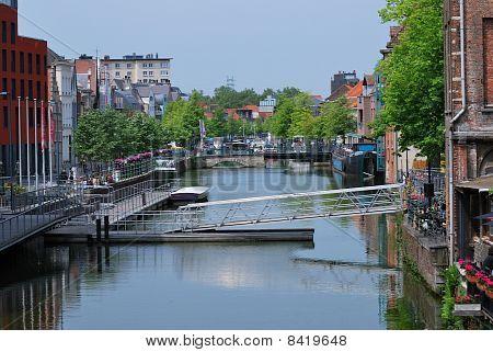 Pedestrian bridge across canal
