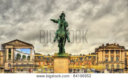 Statue Of Louis Xiv In Front Of The Palace Of Versailles Near Pairs