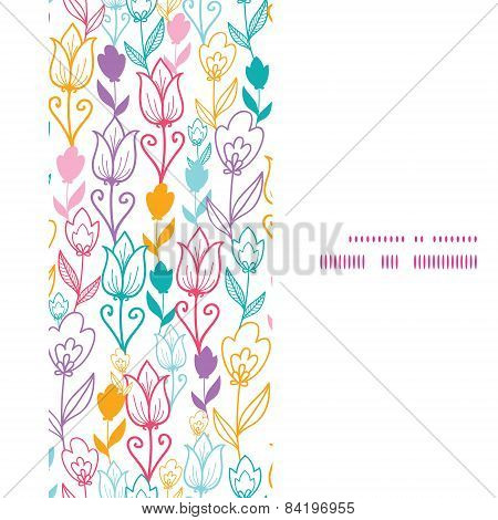 Vector colorful tulip flowers vertical frame seamless pattern background