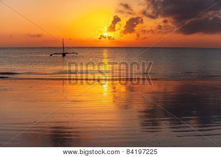 Morning, landscape, boat, ocean, calm, clouds, sun