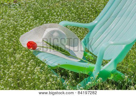 Deckchair, Tulip And Hat In The Garden