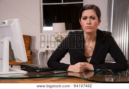 Office Worker Female Business Woman Slams Fist On Desk
