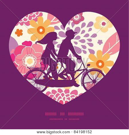 Vector warm summer plants couple on tandem bicycle heart silhouette frame pattern greeting card temp