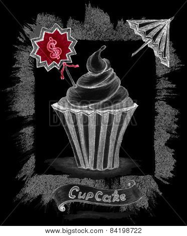 Handmade chalk sketch cupcake with price umbrella ribbon on black
