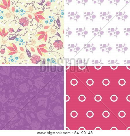 Vector Fresh Field Flowers and Leaves Set of Four Matching Repeat Patterns Backgrounds