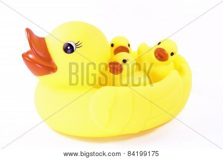 Mother Rubber Duck Carrying her Baby Rubber Ducks