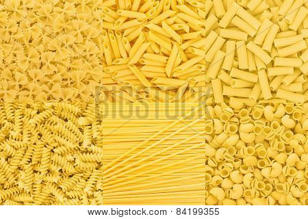 Italian Pasta Raw Food Collection Background Texture. Spaghetti Farfalle Macaroni Penne Pipe Rotini