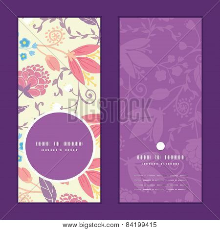 Vector fresh field flowers and leaves vertical round frame pattern invitation greeting cards set