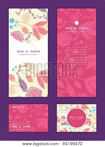 Vector fresh field flowers and leaves vertical frame pattern invitation greeting, RSVP and thank you