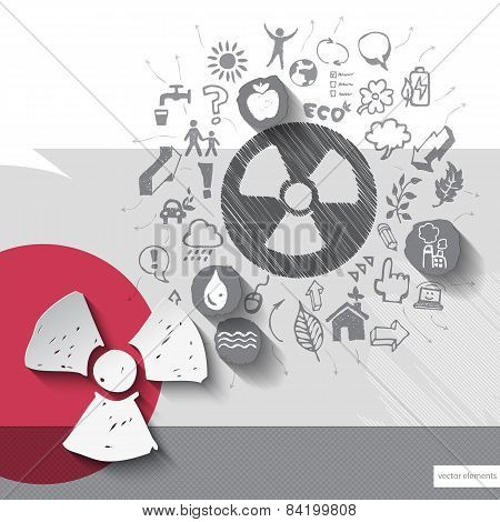 Paper and hand drawn radioactivity emblem with icons background