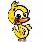 stock photo of baby duck  - Cartoon sweet yellow baby duck character with black outlines isolated in white background - JPG