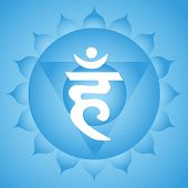 stock photo of indian blue  - Traditional Indian Vishuddha throat chakra blue symbol - JPG