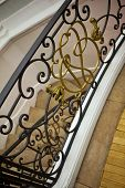 picture of mansion  - Wrought iron handrail in a French mansion - JPG