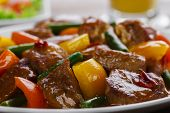 stock photo of stew  - beef stew with peppers and green beans - JPG