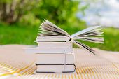 image of piles  - pile of books with one opened book on nature background - JPG