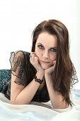stock photo of thinker  - sad pretty woman thinker looking in camera - JPG