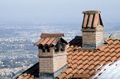 picture of chimney  - the two chimneys on the roof of the house - JPG