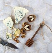 foto of walnut  - Blue Cheese With Honey And Walnuts - JPG