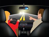 stock photo of driving school  - Driving course at night  - JPG