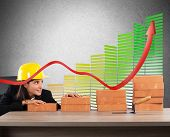 picture of efficiencies  - Woman architect currency savings and energy efficiency - JPG