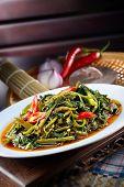 foto of malaysia  - Sambal chili kangkong malaysia style with nice background - JPG