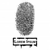 stock photo of fingerprint  - Realistic Fingerprint and frame for fill text - JPG